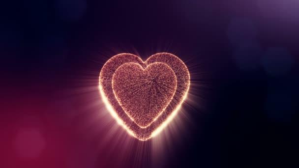 Loop 3D Animation von Glühpartikeln bilden ein rotes Herz mit Schärfentiefe und Bokeh auf dunklem Hintergrund. Verwendung für Valentinstag oder Hochzeitshintergrund als nahtloses Filmmaterial. v23