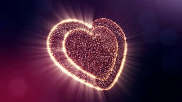 Smyčka 3d animace záře částice forma 3d červené srdce s hloubkou ostrosti a bokeh na tmavém pozadí. Používá se pro valentinky den nebo svatební pozadí jako plynulé záběry. VERZE V27