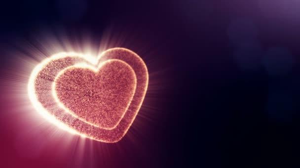 Smyčka 3d animace záře částice forma 3d červené srdce s hloubkou ostrosti a bokeh na tmavém pozadí. Používá se pro valentinky den nebo svatební pozadí jako plynulé záběry. V30