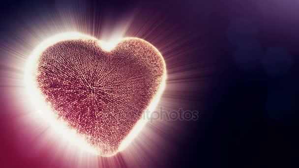 Hurok a 3D-s animáció fény részecskék képernyő 3d piros szív, mélységélesség és a sötét háttérben a bokeh. Valentin-nap vagy esküvői háttér használata a varrat nélküli hosszúság. V37