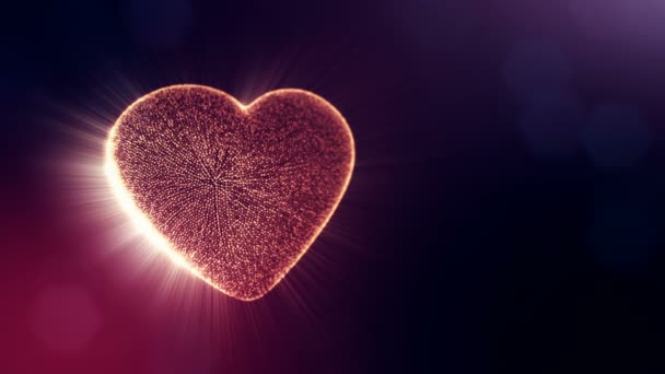 Loop 3d animation of glow particles form 3d red heart with depth of field and bokeh on dark background. Use for valentines day or wedding background as seamless footage. V42