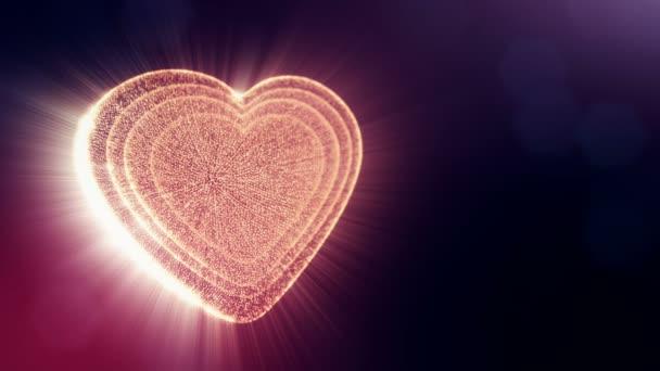 Červené srdce na Valentýna nebo svatební podklady jako plynulé záběry s hloubkou ostrosti a bokeh na tmavém pozadí. Smyčka 3d animace záře částice forma 3d červené srdce. V3