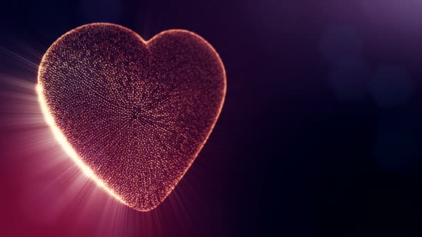 Red heart for valentines day or wedding background as seamless footage with depth of field and bokeh on dark background. Loop 3d animation of glow particles form 3d red heart . V5