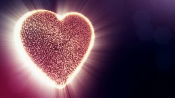 Piros szív Valentin-nap vagy esküvői háttérben varrat nélküli felvétel a mélységélesség és a sötét háttérben a bokeh. Hurok a 3D-s animáció fény részecskék képernyő 3d piros szív. V6