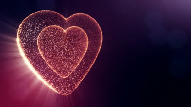 Red heart for valentines day or wedding background as seamless footage with depth of field and bokeh on dark background. Loop 3d animation of glow particles form 3d red heart . V8