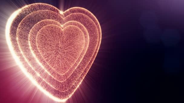 Červené srdce na Valentýna nebo svatební podklady jako plynulé záběry s hloubkou ostrosti a bokeh na tmavém pozadí. Smyčka 3d animace záře částice forma 3d červené srdce. V10