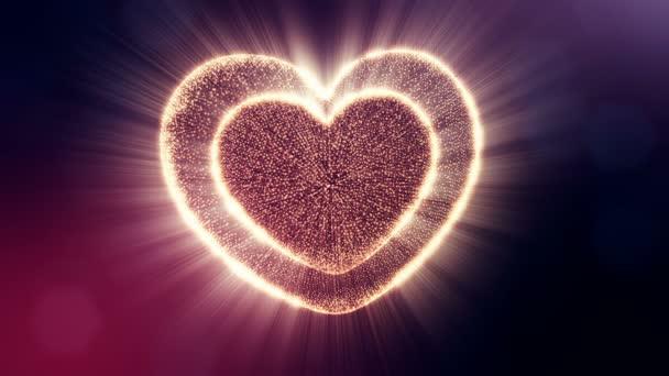 rotes Herz für Valentinstag oder Hochzeitshintergrund als nahtloses Filmmaterial mit Tiefenschärfe und Bokeh auf dunklem Hintergrund. Loop 3D Animation von Glühpartikeln bilden ein rotes Herz. v15