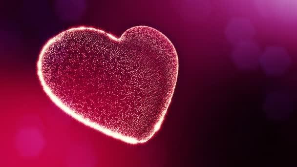 Smyčka 3d animace záře částice forma 3d červené srdce s hloubkou ostrosti a bokeh. Valentýn nebo svatební pozadí jako bezešvé pozadí s místem pro text a světelné paprsky. V2