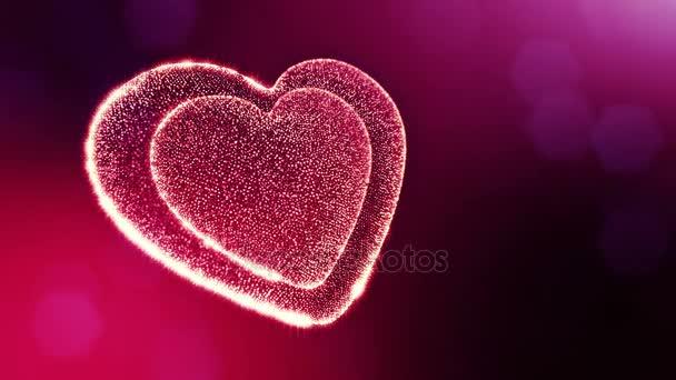 Loop 3D Animation von Glühpartikeln bilden ein rotes Herz mit Schärfentiefe und Bokeh. für Valentinstag oder Hochzeitshintergrund als nahtloser Hintergrund mit Platz für Text und Lichtstrahlen. v4