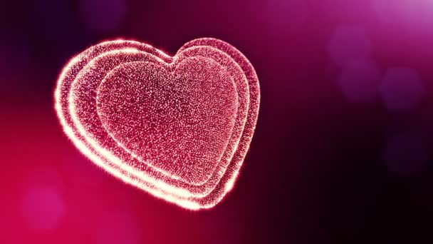 Loop 3d animation of glow particles form 3d red heart with depth of field and bokeh. For valentines day or wedding background as seamless background with space for text and light rays. V5