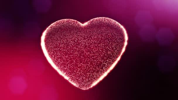 Smyčka 3d animace záře částice forma 3d červené srdce s hloubkou ostrosti a bokeh. Valentýn nebo svatební pozadí jako bezešvé pozadí s místem pro text a světelné paprsky. V7