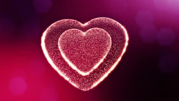 Smyčka 3d animace záře částice forma 3d červené srdce s hloubkou ostrosti a bokeh. Valentýn nebo svatební pozadí jako bezešvé pozadí s místem pro text a světelné paprsky. V9