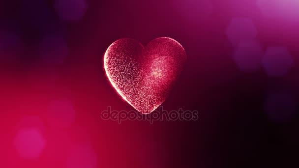 Smyčka 3d animace záře částice forma 3d červené srdce s hloubkou ostrosti a bokeh. Valentýn nebo svatební pozadí jako bezešvé pozadí s místem pro text a světelné paprsky. V11