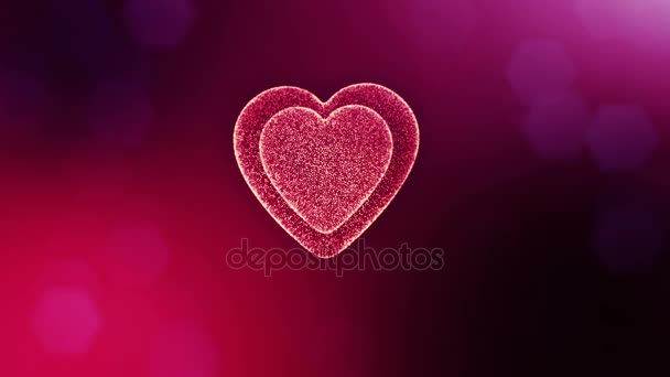 Loop 3d animation of glow particles form 3d red heart with depth of field and bokeh. For valentines day or wedding background as seamless background with space for text and light rays. V13