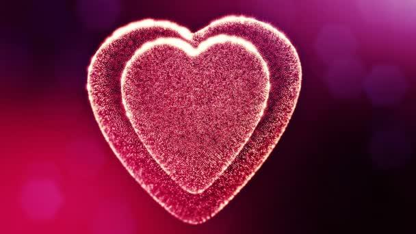 Loop 3D Animation von Glühpartikeln bilden ein rotes Herz mit Schärfentiefe und Bokeh. für Valentinstag oder Hochzeitshintergrund als nahtloser Hintergrund mit Platz für Text und Lichtstrahlen. v16