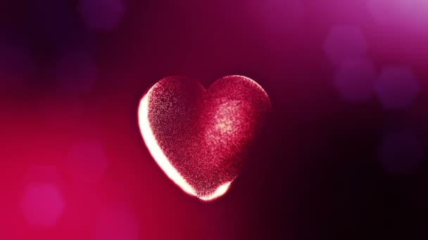 Loop 3d animation of glow particles form 3d red heart with depth of field and bokeh. For valentines day or wedding background as seamless background with space for text and light rays. V17