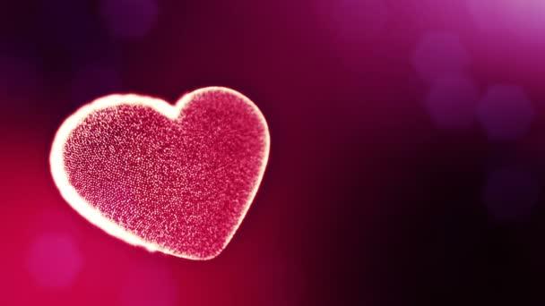 Hurok a 3D-s animáció fény részecskék képernyő 3d piros szív, mélységélesség és a bokeh. Valentin-nap vagy esküvői háttérben, mint a hely, a szöveg és a fénysugarak varratmentes háttérben. V30