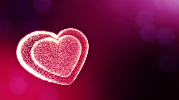 Smyčka 3d animace záře částice forma 3d červené srdce s hloubkou ostrosti a bokeh. Valentýn nebo svatební pozadí jako bezešvé pozadí s místem pro text a světelné paprsky. V32