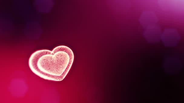 Hurok a 3D-s animáció fény részecskék képernyő 3d piros szív, mélységélesség és a bokeh. Valentin-nap vagy esküvői háttérben, mint a hely, a szöveg és a fénysugarak varratmentes háttérben. V37