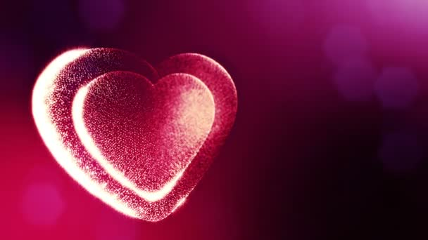 Loop 3d animation of glow particles form 3d red heart with depth of field and bokeh. For valentines day or wedding background as seamless background with space for text and light rays. V40