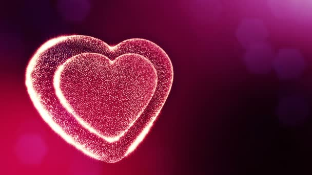 Loop 3d animation of glow particles form 3d red heart with depth of field and bokeh. For valentines day or wedding background as seamless background with space for text and light rays. V41