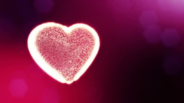 Smyčka 3d animace záře částice forma 3d červené srdce s hloubkou ostrosti a bokeh. Valentýn nebo svatební pozadí jako bezešvé pozadí s místem pro text a světelné paprsky. V44