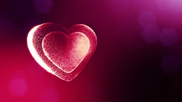 Smyčka 3d animace záře částice forma 3d červené srdce s hloubkou ostrosti a bokeh. Valentýn nebo svatební pozadí jako bezešvé pozadí s místem pro text a světelné paprsky. V45