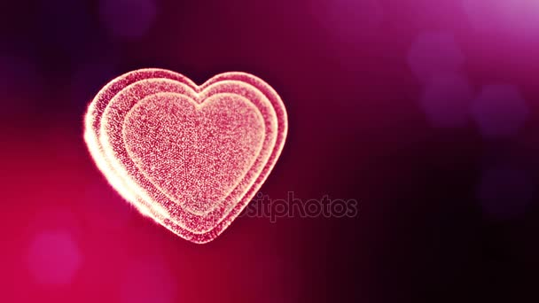 Loop 3d animation of glow particles form 3d red heart with depth of field and bokeh. For valentines day or wedding background as seamless background with space for text and light rays. V47