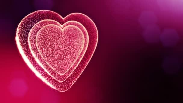 Hurok a 3D-s animáció fény részecskék képernyő 3d piros szív, mélységélesség és a bokeh. Valentin-nap vagy esküvői háttérben, mint a hely, a szöveg és a fénysugarak varratmentes háttérben. V54
