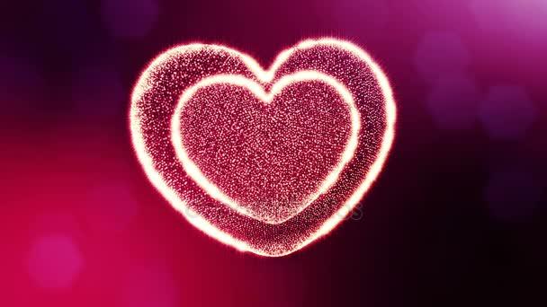 Loop 3D Animation von Glühpartikeln bilden ein rotes Herz mit Schärfentiefe und Bokeh. für Valentinstag oder Hochzeitshintergrund als nahtloser Hintergrund mit Platz für Text und Lichtstrahlen. v58