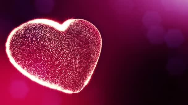 Hurok a 3D-s animáció fény részecskék képernyő 3d piros szív, mélységélesség és a bokeh. Valentin-nap vagy esküvői háttérben, mint a hely, a szöveg és a fénysugarak varratmentes háttérben. V65
