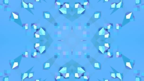 modré nízké poly geometrická abstraktní pozadí jako pohyblivé barevné sklo nebo kaleidoskopu v rozlišení 4k. Smyčka 3d animace, plynulé záběry ve stylu populární nízké poly. V5