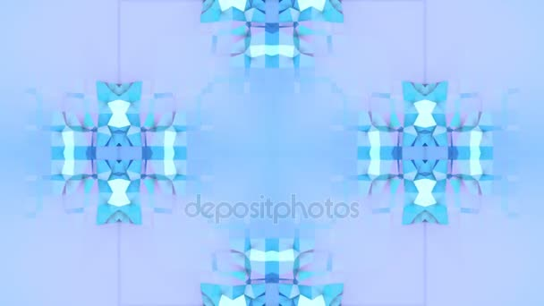 blue low poly geometric abstract background as a moving stained glass or kaleidoscope in 4k. Loop 3d animation, seamless footage in popular low poly style. V8