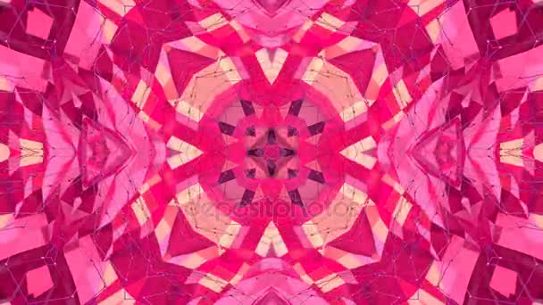 red low poly geometric abstract background as a moving stained glass or kaleidoscope effect in 4k. Loop 3d animation, seamless footage in popular low poly style. V20