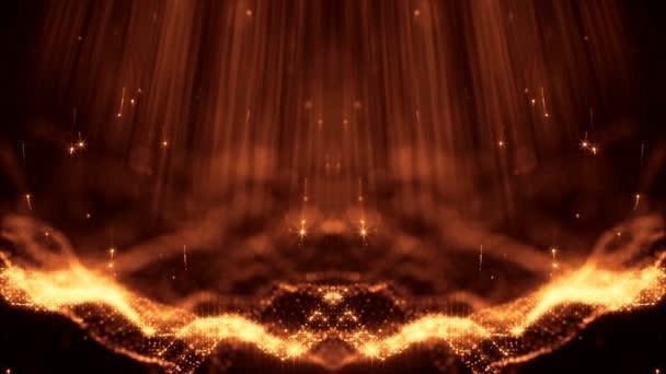 Virtuális tér mélység a mező. Végtelenített holografikus arany háttér a mikrokozmosz- avagy a nano-világ. Varrat nélküli felvétel részecskék formában vonalak, felületek, rács. Digitális elemek alkalmas a Hud. V37