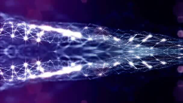 3D vykreslování pozadí s částicemi s hloubkou ostrosti. Smyčky animace, plynulé záběry. Tmavě digitální pozadí abstraktní s krásnou zářící částice tvoří koncepce digitálního světa. Modrá V18