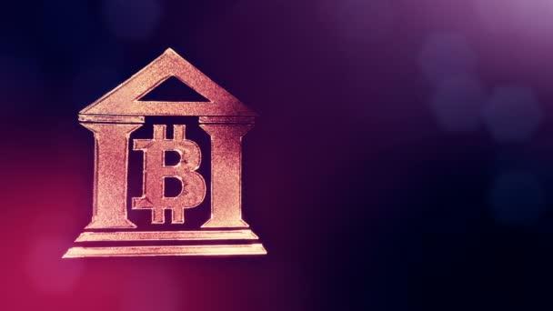 Projevem bitcoin loga v budově banky. Finanční zázemí z částic záře jako vitrtual hologram. 3d lesklé smyčka animace s hloubkou pole, bokeh a kopie prostoru. Fialové pozadí 1