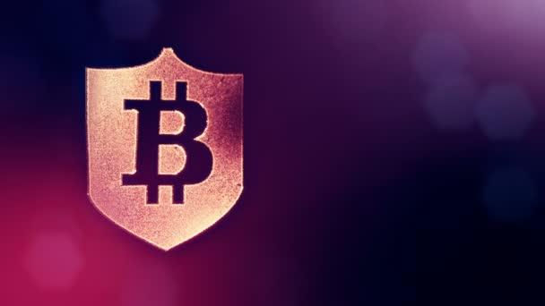 Bitcoin logó belsejében a pajzs. Pénzügyi háttér készült fény részecskék, mint a vitrtual hologram. Fényes 3d hurok élénkség-val mélység-mező, bokeh és másolás. Lila háttér 1