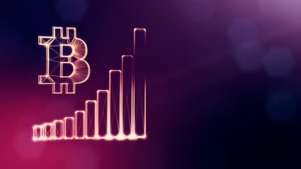 Zeichen von Bitcoin und Grafik. finanzieller Hintergrund aus Glühpartikeln als vitrales Hologramm. glänzende 3D-Schleifenanimation mit Schärfentiefe, Bokeh und Kopierraum. Violett Hintergrund 1