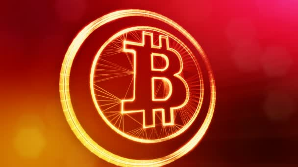 bitcoin logo inside circles like coin. Financial background made of glow particles as vitrtual hologram. Shiny 3D loop animation with depth of field, bokeh and copy space.. Red background v1