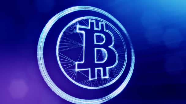 bitcoin logo inside circles like coin. Financial background made of glow particles as vitrtual hologram. Shiny 3D loop animation with depth of field, bokeh and copy space. Blue background 1
