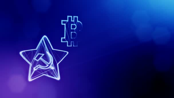 logo bitcoin and emblem of the USSR. Financial background made of glow particles as vitrtual hologram. Shiny 3D loop animation with depth of field, bokeh and copy space. Blue background 1