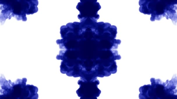 blue ink inject in water on white background. 3d animation with luma matte as alpha channel in slow motion. use for ink effect, transition or beautiful colorful background. Kaleidaskopic V2
