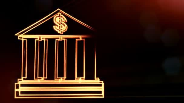 znak dolaru v emblému banky. Finanční pozadí svítící částic. 3D animace seamleass s hloubkou pole, bokeh a kopie prostoru pro váš text. tmavé pozadí v1