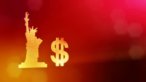 dollar sign and emblem of The Statue of Liberty. Finance background of luminous particles. 3D loop animation with depth of field, bokeh and copy space for your text.. red color v1
