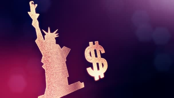 Dollar Sign And Emblem Of The Statue Of Liberty Finance Background Of Luminous Particles 3d Loop