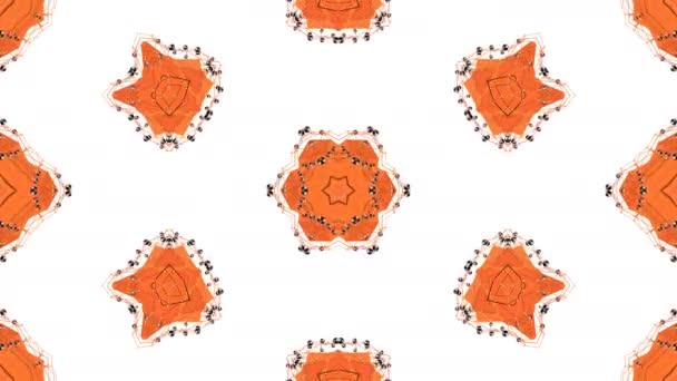low poly geometric abstract background as a moving stained glass or kaleidoscope effect in 4k. Loop 3d animation, seamless footage in popular low poly style. Orange color V5