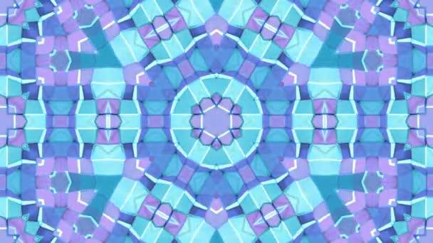 nízké poly geometrická abstraktní pozadí jako pohyblivé barevné sklo nebo efekt kaleidoskopu v rozlišení 4k. Smyčka 3d animace, plynulé záběry ve stylu populární nízké poly. Modrá barva v12