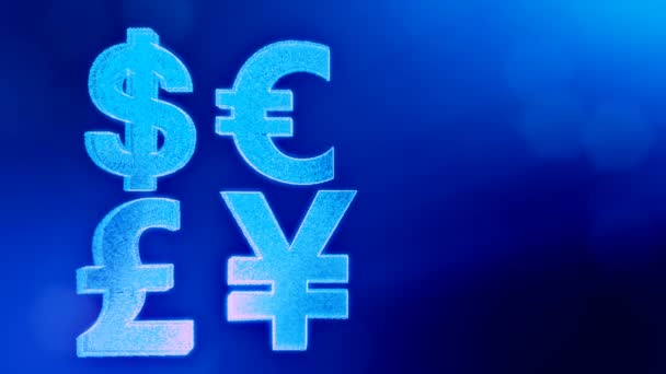 Symbol Dollar Euro Pound And Yen Financial Background Made Of Glow