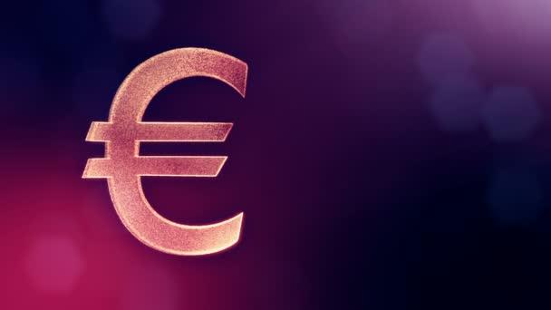 Ikonu animace nebo znak Euro Logo. Finanční zázemí z částic záře jako vitrtual hologram. 3d lesklé smyčka animace s hloubkou pole, bokeh a kopie prostoru. Fialová barva v1